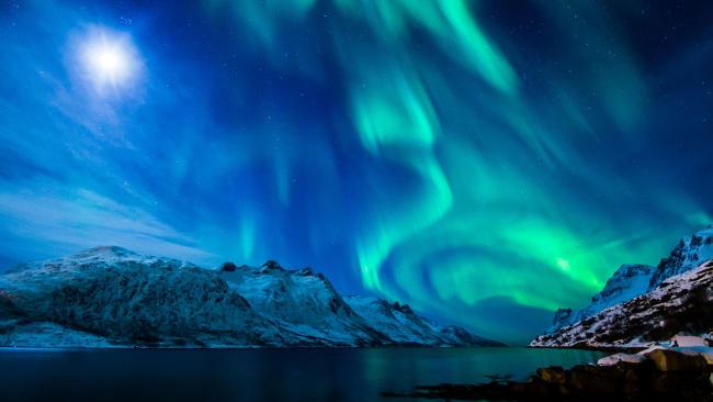 Foto aurora boreale.