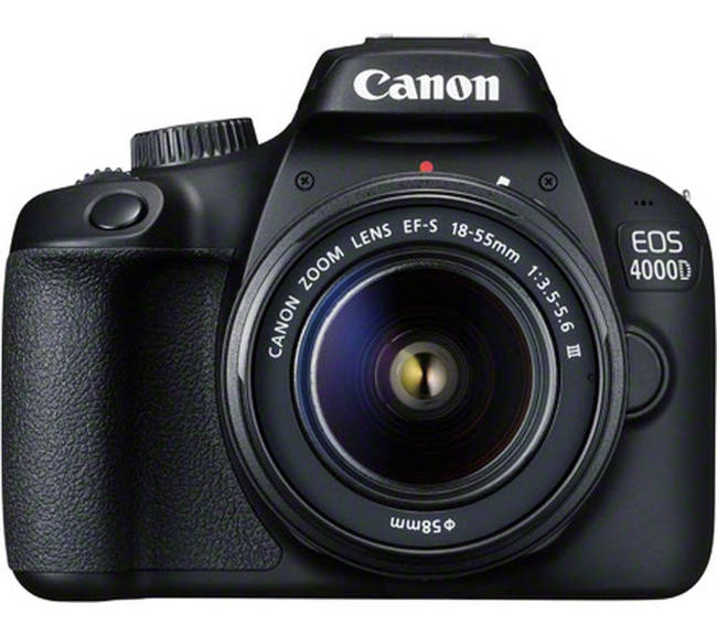 Canon 4000D con zoom standard in Kit 18-55.