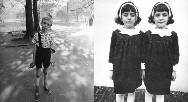 Celebri fotografie di Diane Arbus, le gemelle ed il bambino.