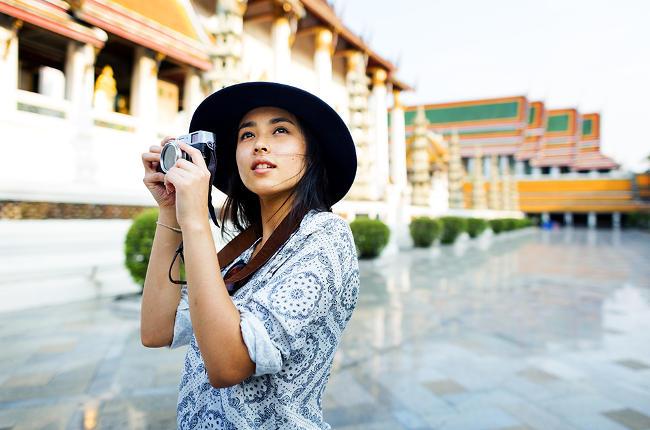 Fotocamera compatta per viaggiare.