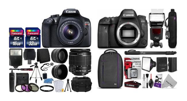 Kit completo di Reflex più accessori e borsa.