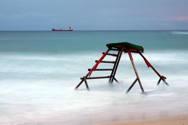 Lunga esposizione sulla spiaggia.