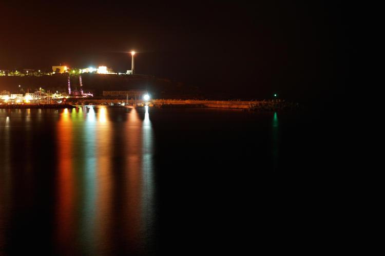 Foto a lunga esposizione di notte.