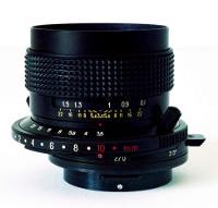Spostamento shift di un obiettivo decentrabile per fotocamera.