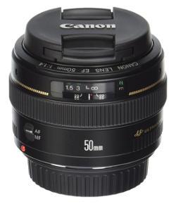 Obbiettivo Canon 50mm molto luminoso, diaframma f/1,4.