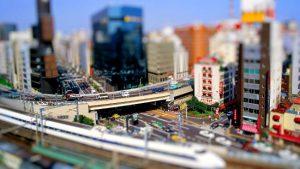 Paesaggio urbano con effetto miniatura.