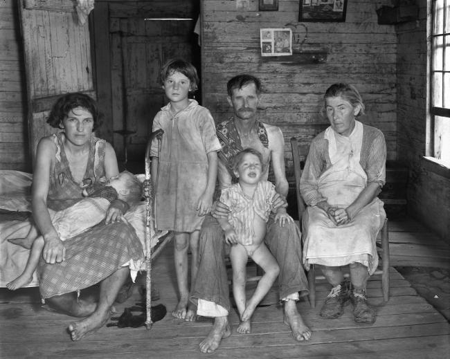 La povertà di una famiglia americana rurale.